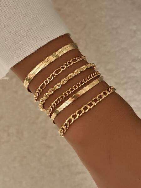 6pcs Simple Chain Bracelet