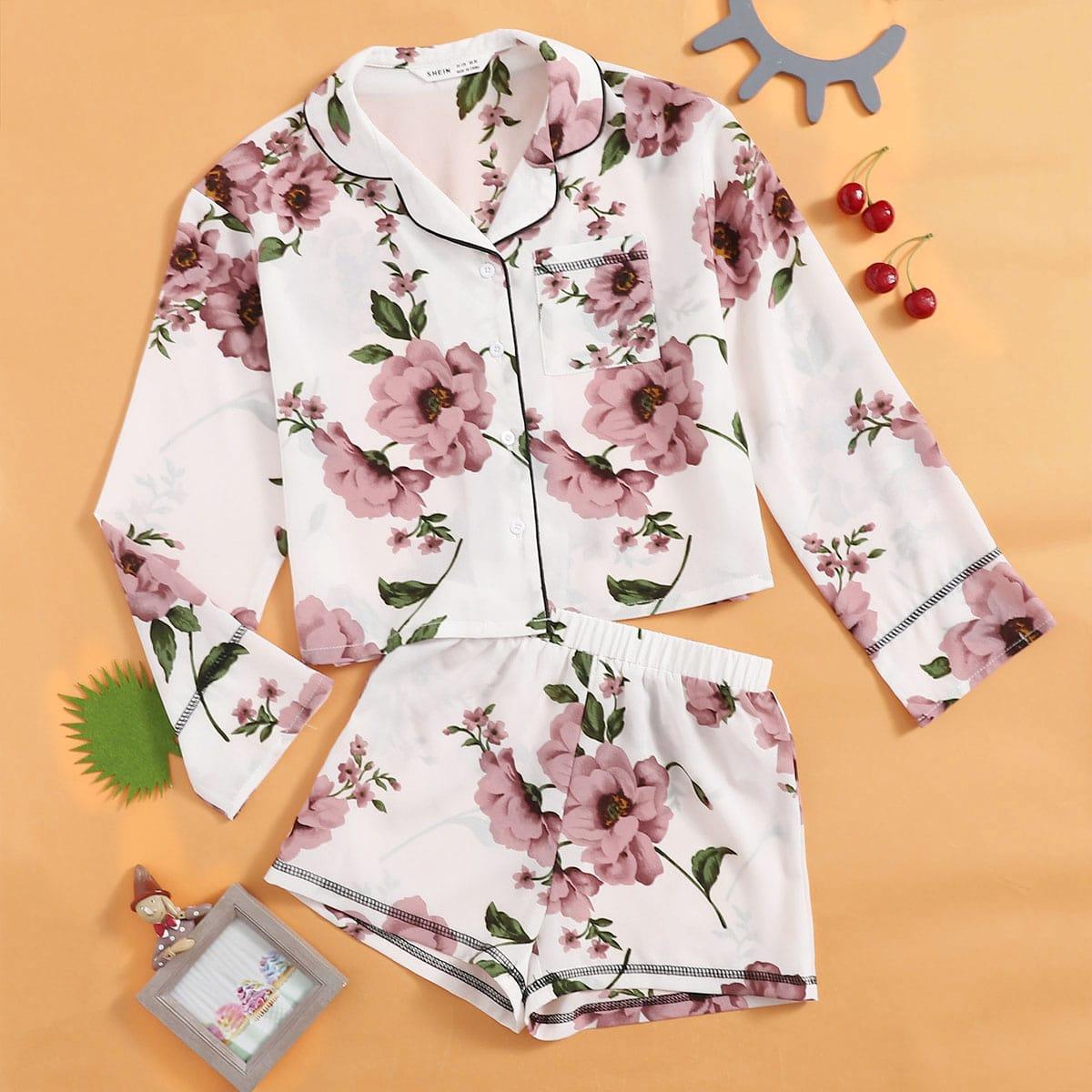 Пиджак с цветочным принтом и карманом