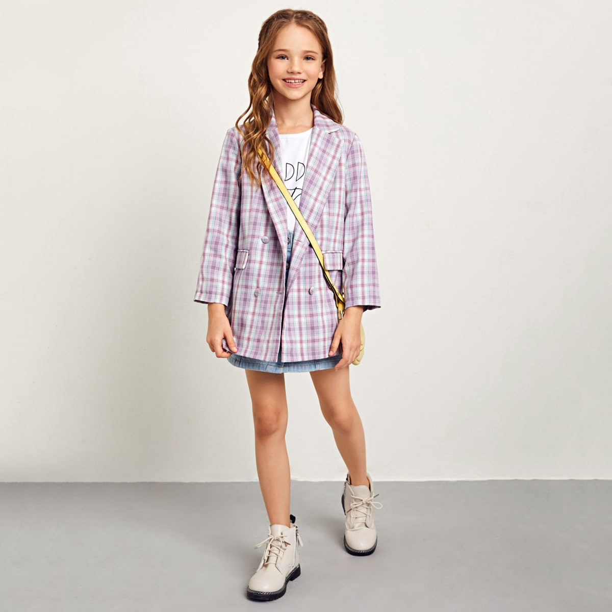 Двубортный пиджак для девочек от SHEIN