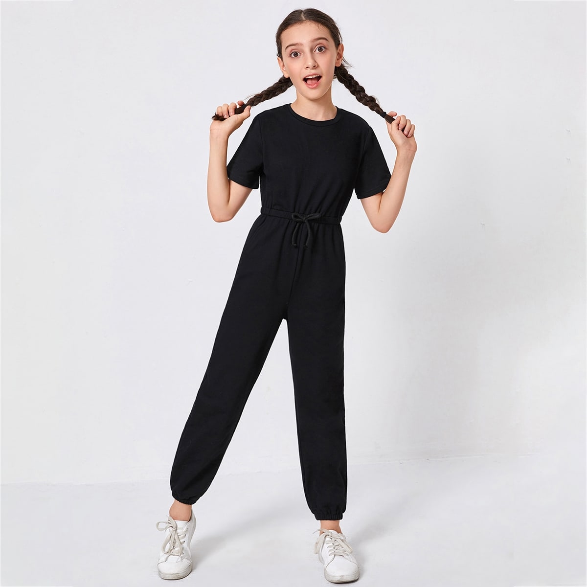 SHEIN / Girls Bow Waist Solid Jumpsuit