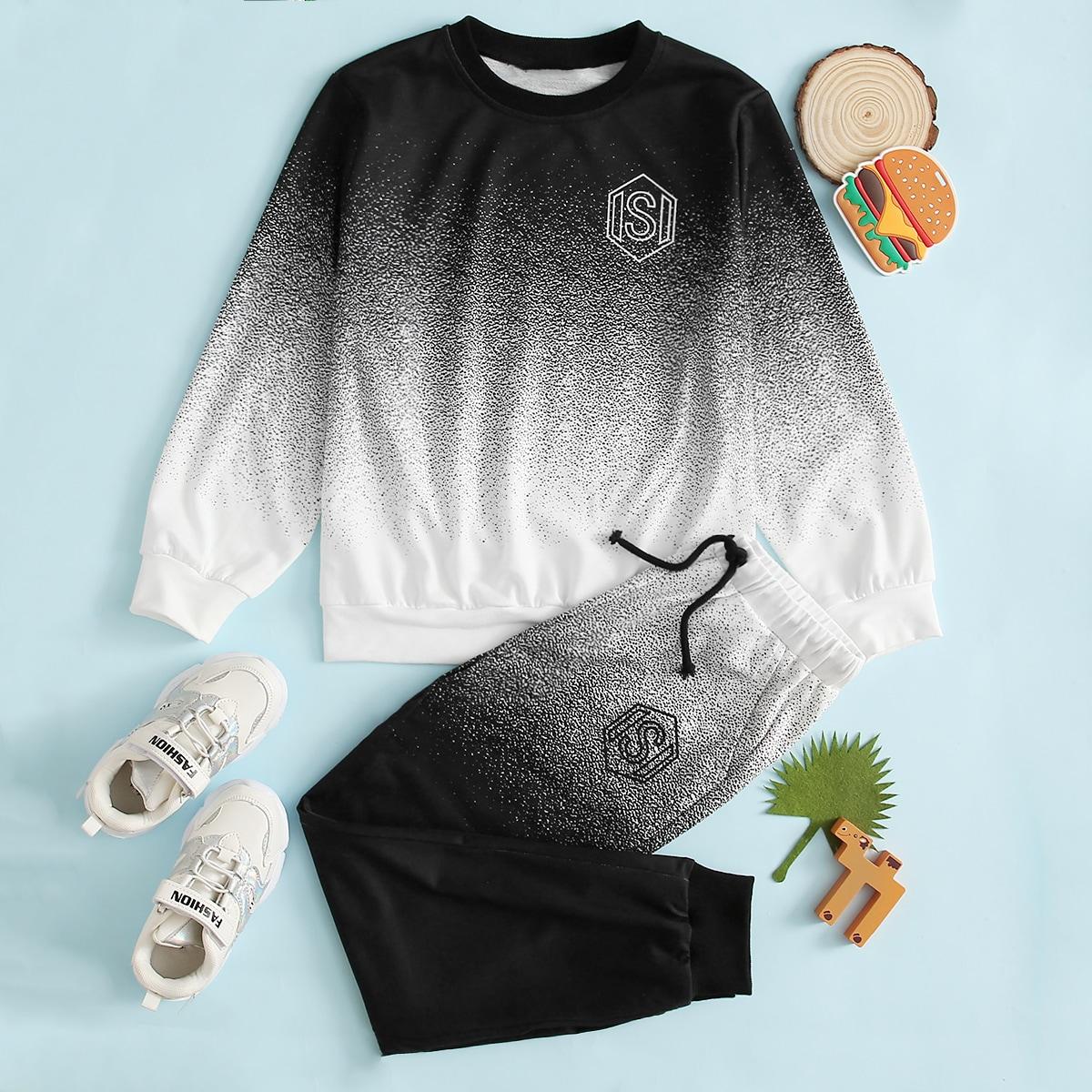 Градиентные брюки и пуловер с текстовым принтом для мальчиков от SHEIN