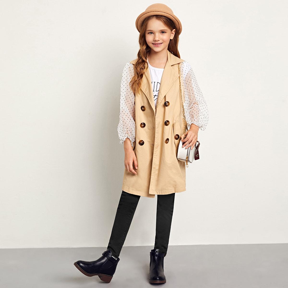 Пальто-тренч с поясом и рукавом из органзы в горошек для девочек от SHEIN