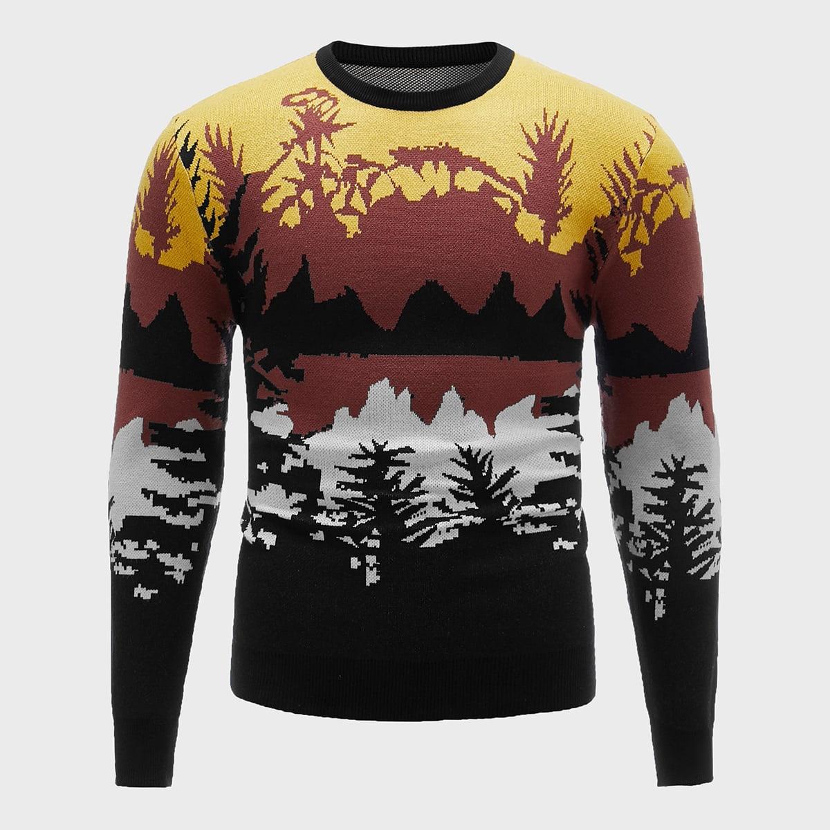 Мужской свитер с принтом ландшафта
