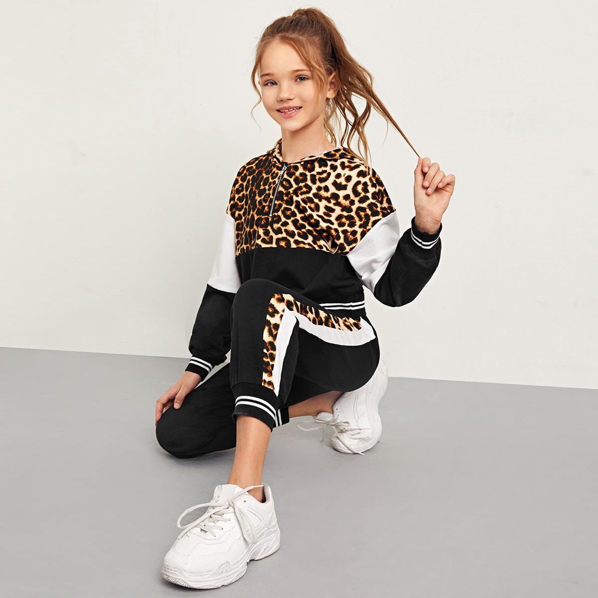 Застежка Леопард Спортивный Комплекты для девочек от SHEIN
