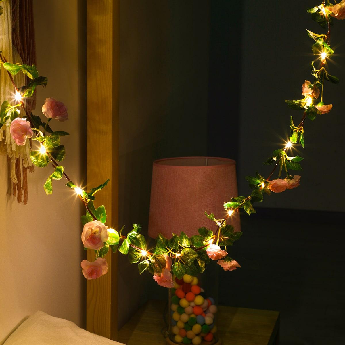 SHEIN / 1 Stück Lichterkette mit künstlicher Rose & 20 Stücke Glühbirnen