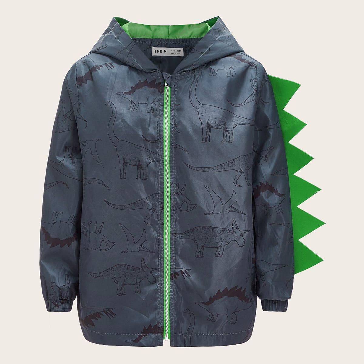 на молнии Животный принт Повседневный Пальто для мальчиков от SHEIN