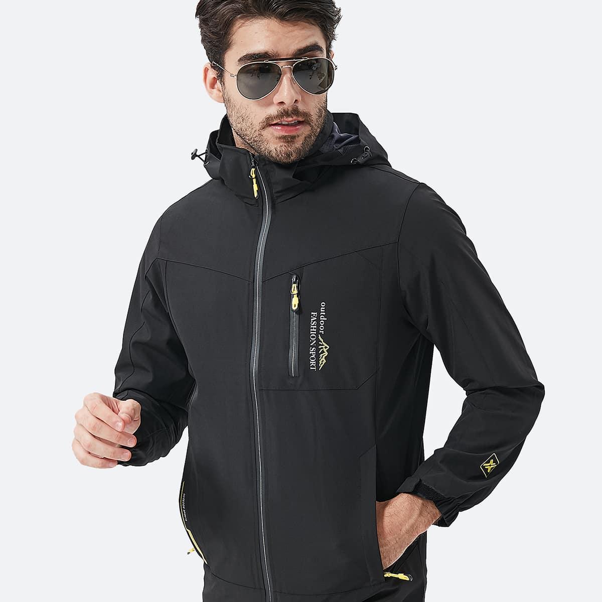 Мужская спортивная куртка на молнии с текстовым