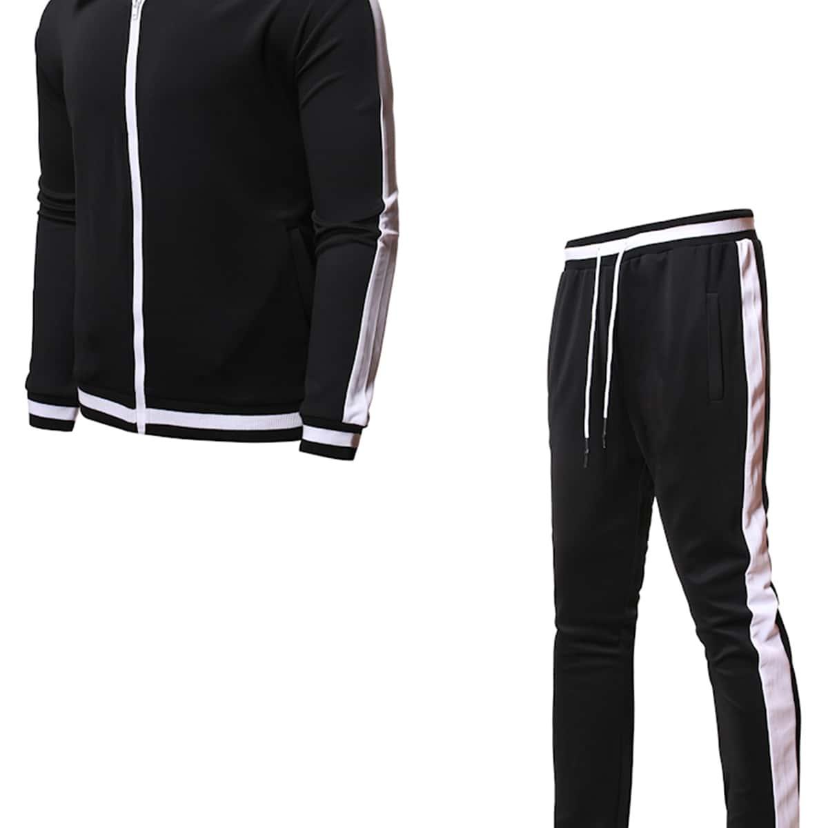 Мужские контрастные спортивные брюки и куртка