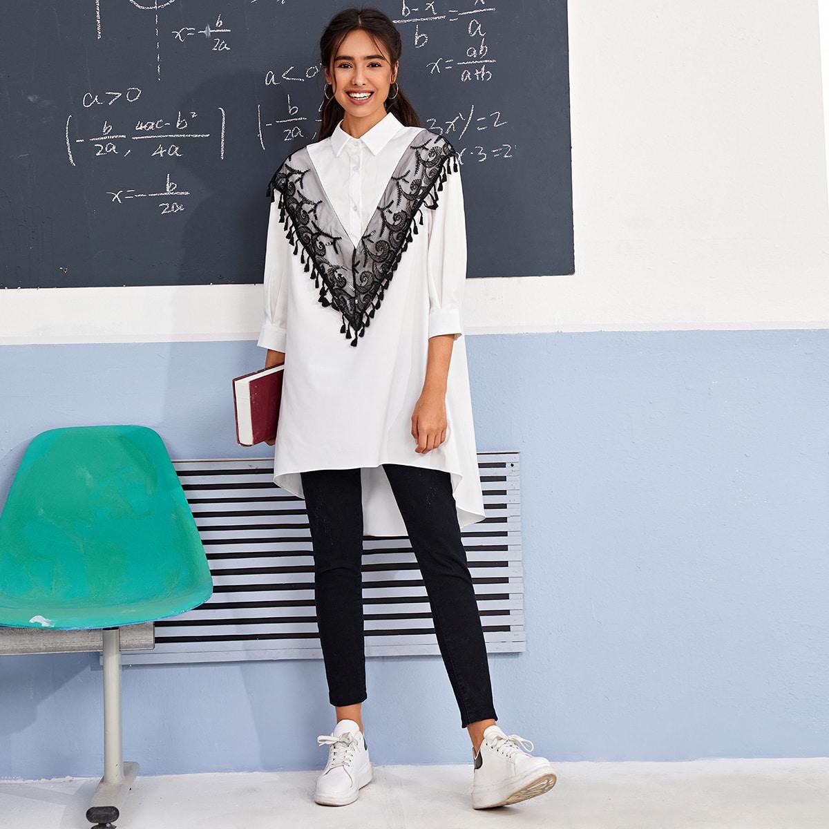 SHEIN / Camisa ribete con fleco con malla con bordado en contraste