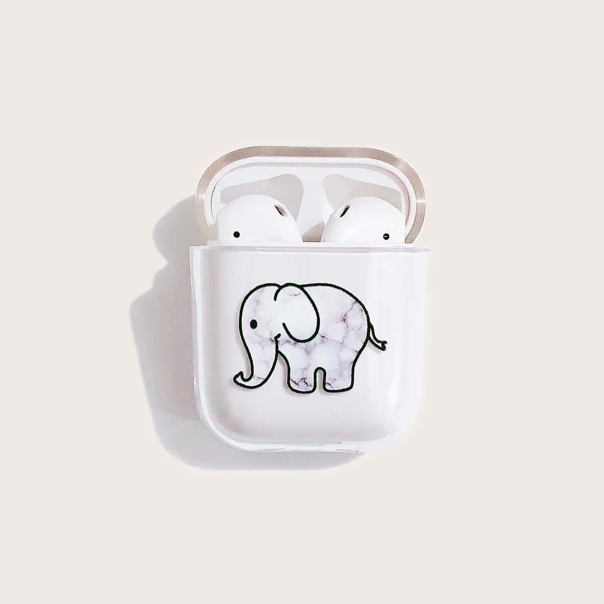 SHEIN / 1 Stück Transparente Airpods Hülle mit Elefant Muster