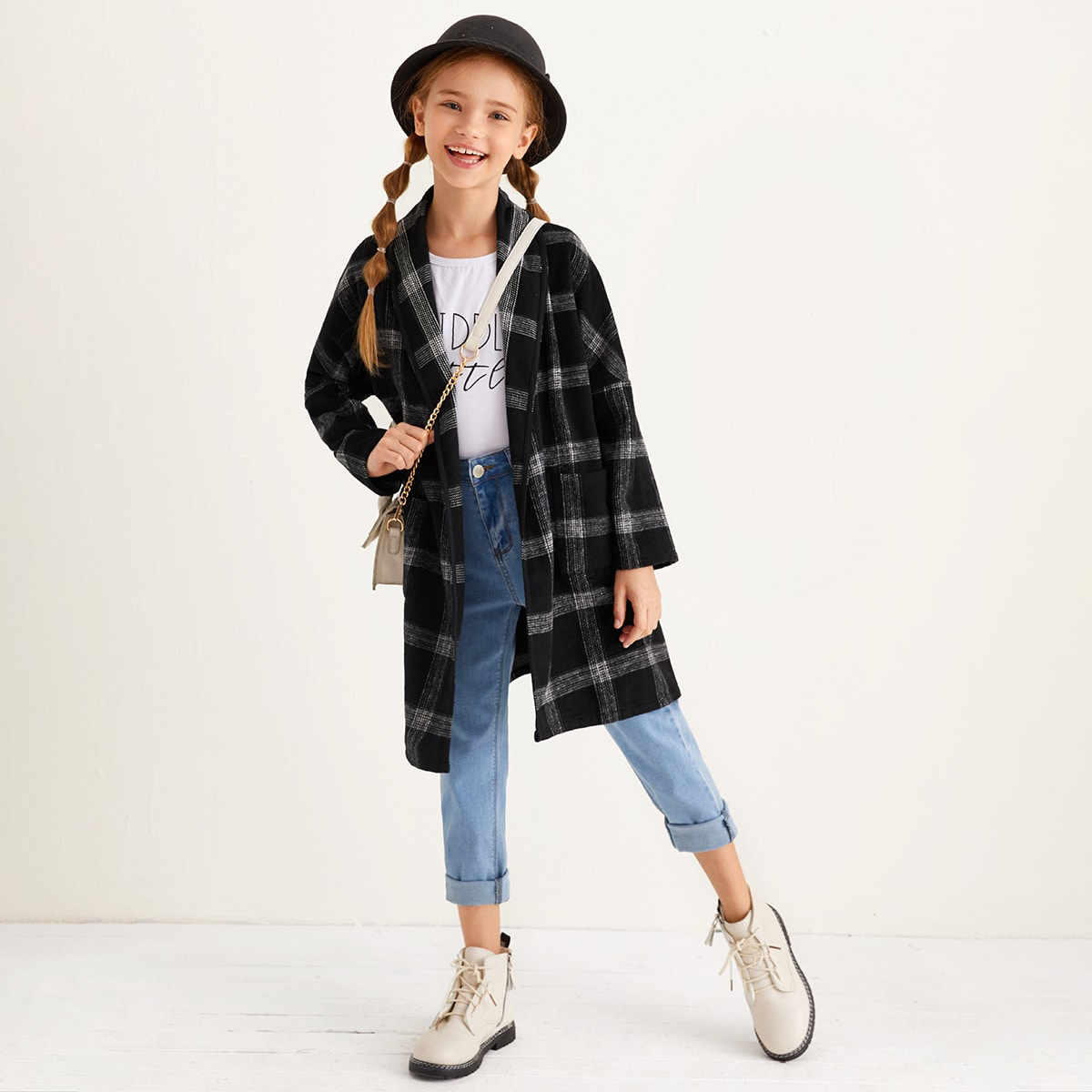 Пальто в клетку с карманом для девочек от SHEIN