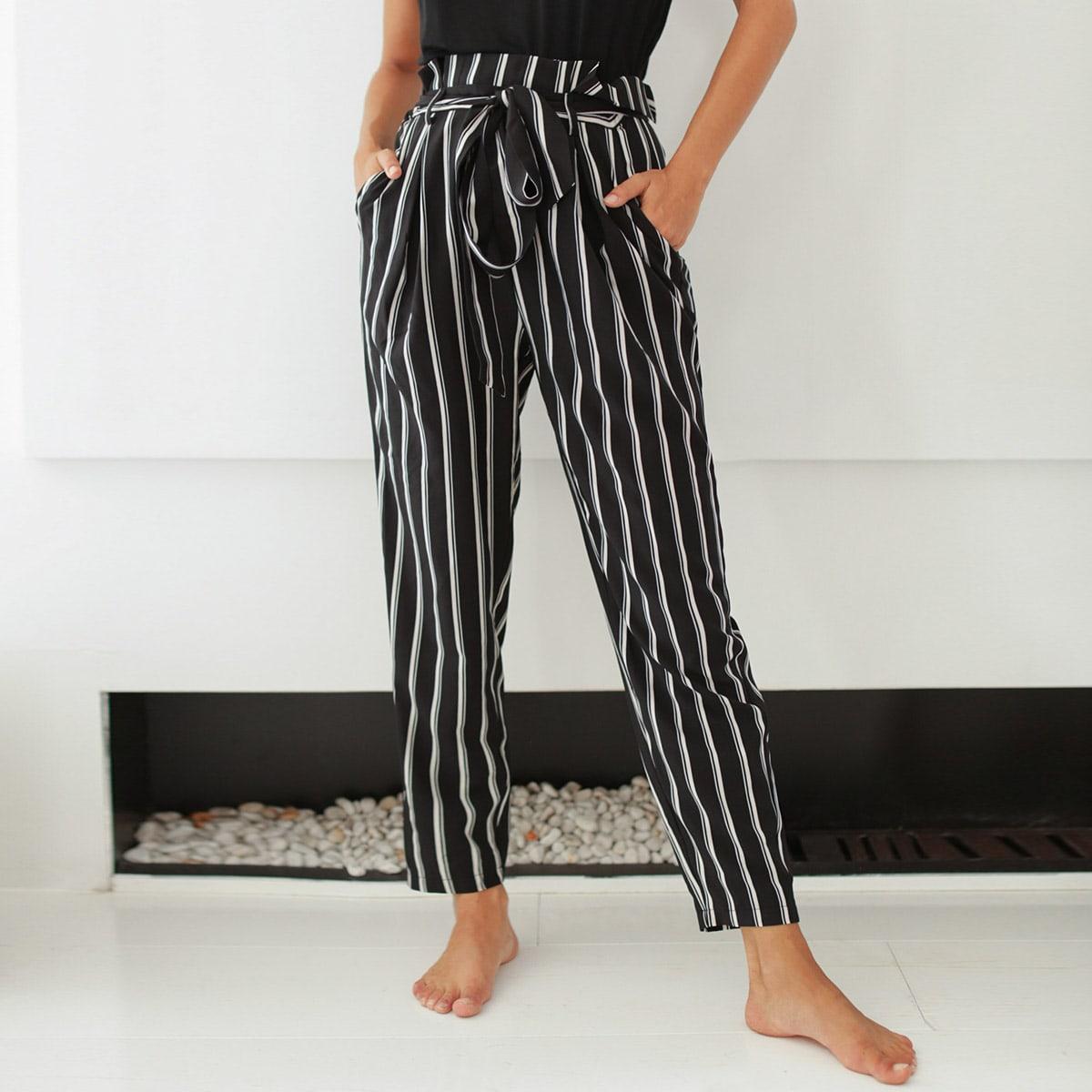 SHEIN / Hose mit Streifen Muster, schrägen Taschen und Gürtel