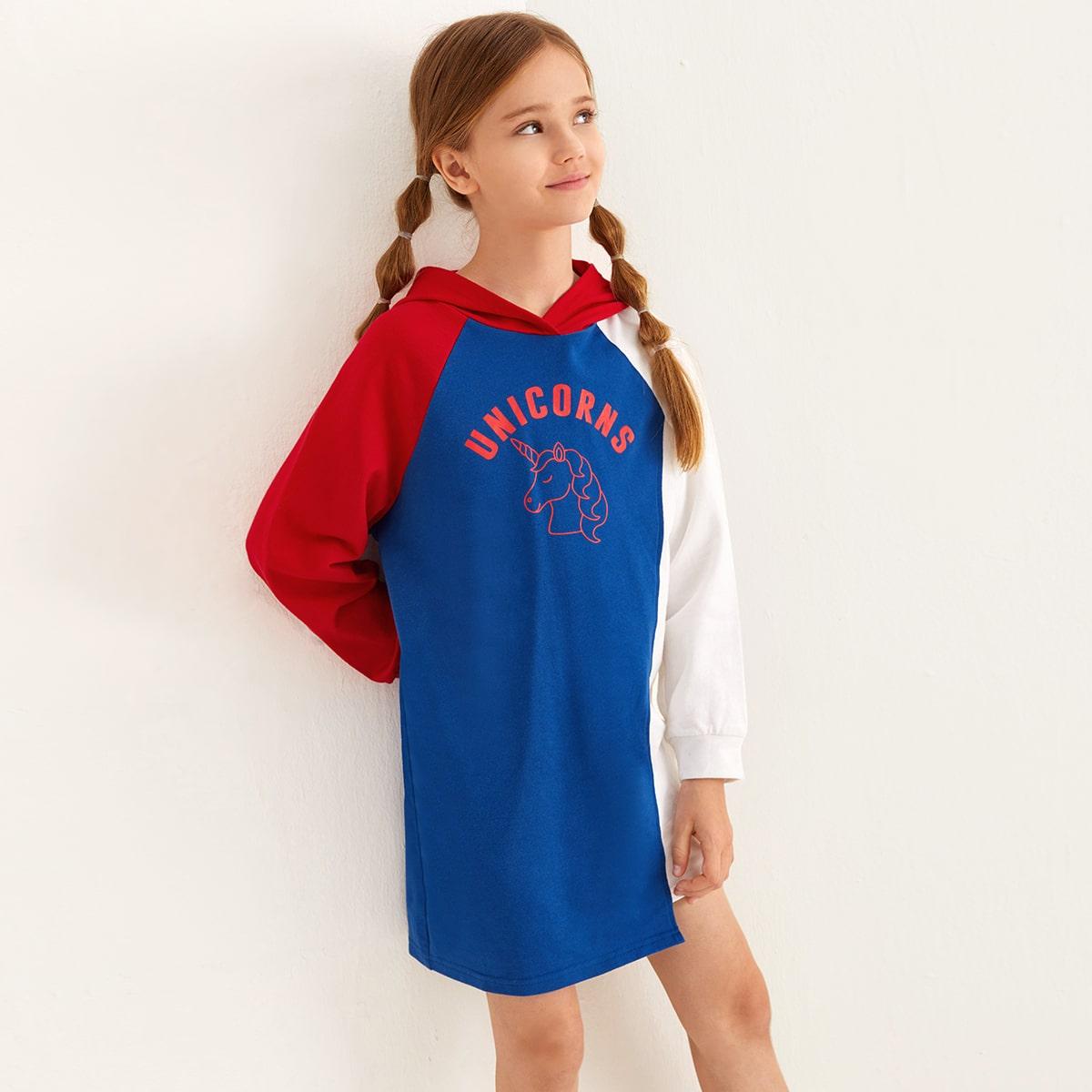 Контрастное платье с капюшоном и принтом единорога для девочек от SHEIN