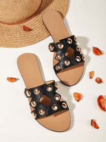 Studded | Sandal | Slide | Decor | Stud | Out | Cut