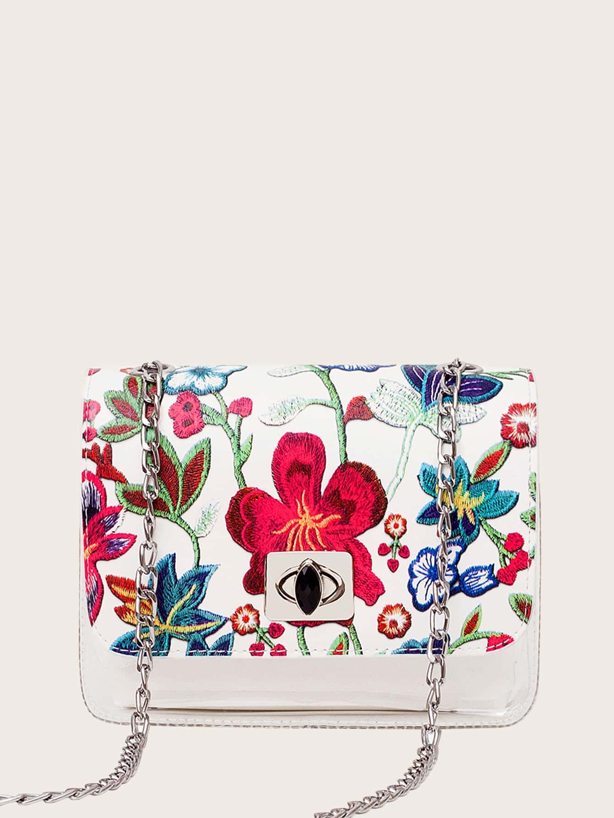Floral Embroidery Clear Crossbody Bag With Inner Bag