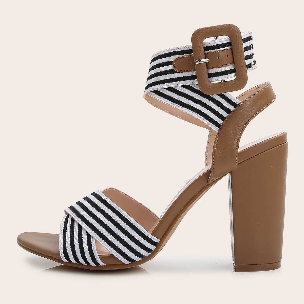 SHEIN / Striped Chunky Heeled Sandals