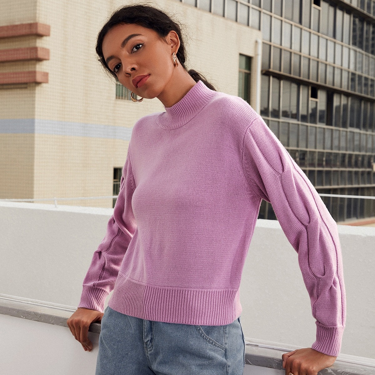 Stand Neck Drop Shoulder Cable Knit Sweater