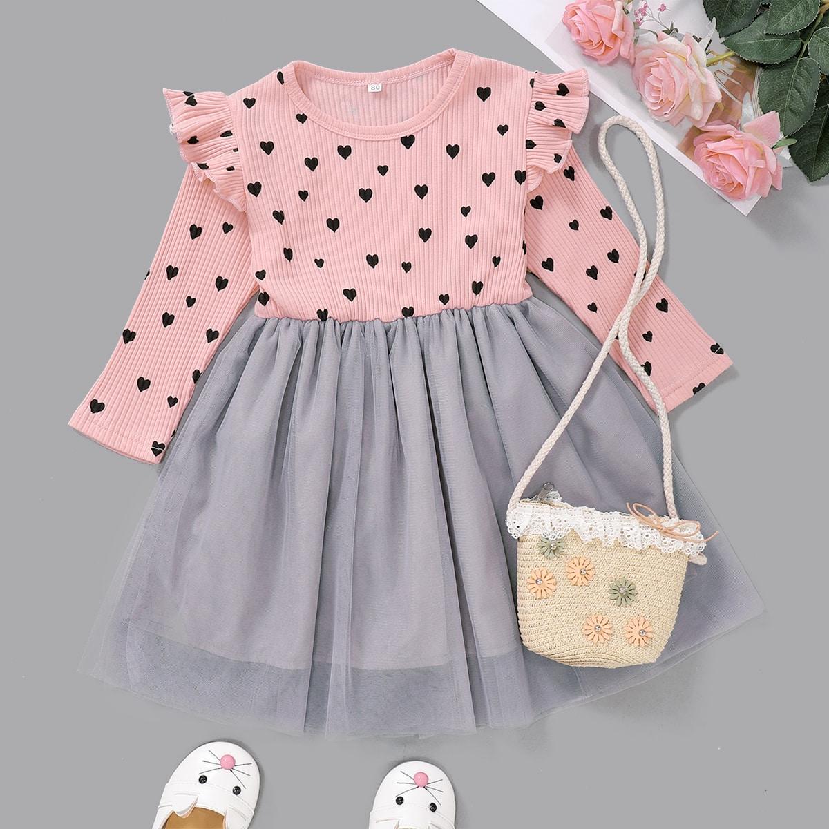 Контрастное платье с принтом