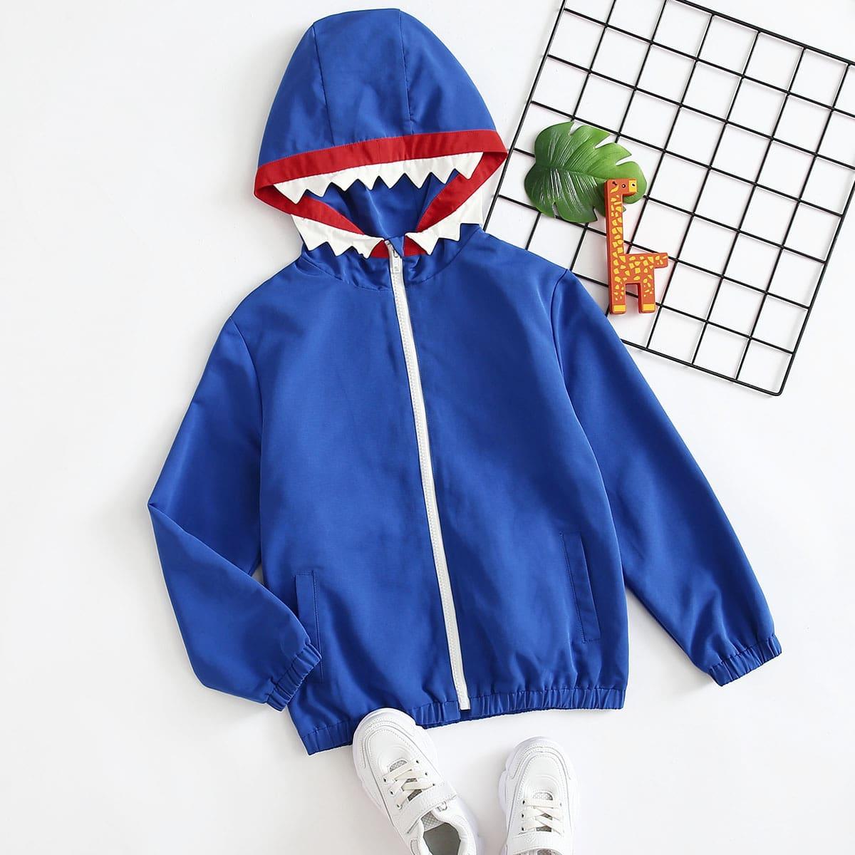 Куртка с капюшоном и заплатой в форме зуба для мальчиков от SHEIN