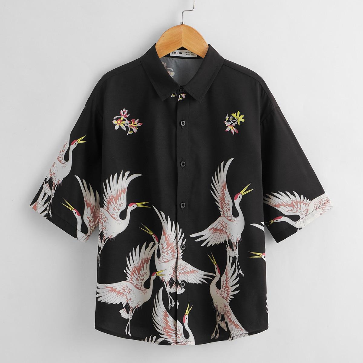 Рубашка с принтом лебедя и цветка для мальчиков от SHEIN