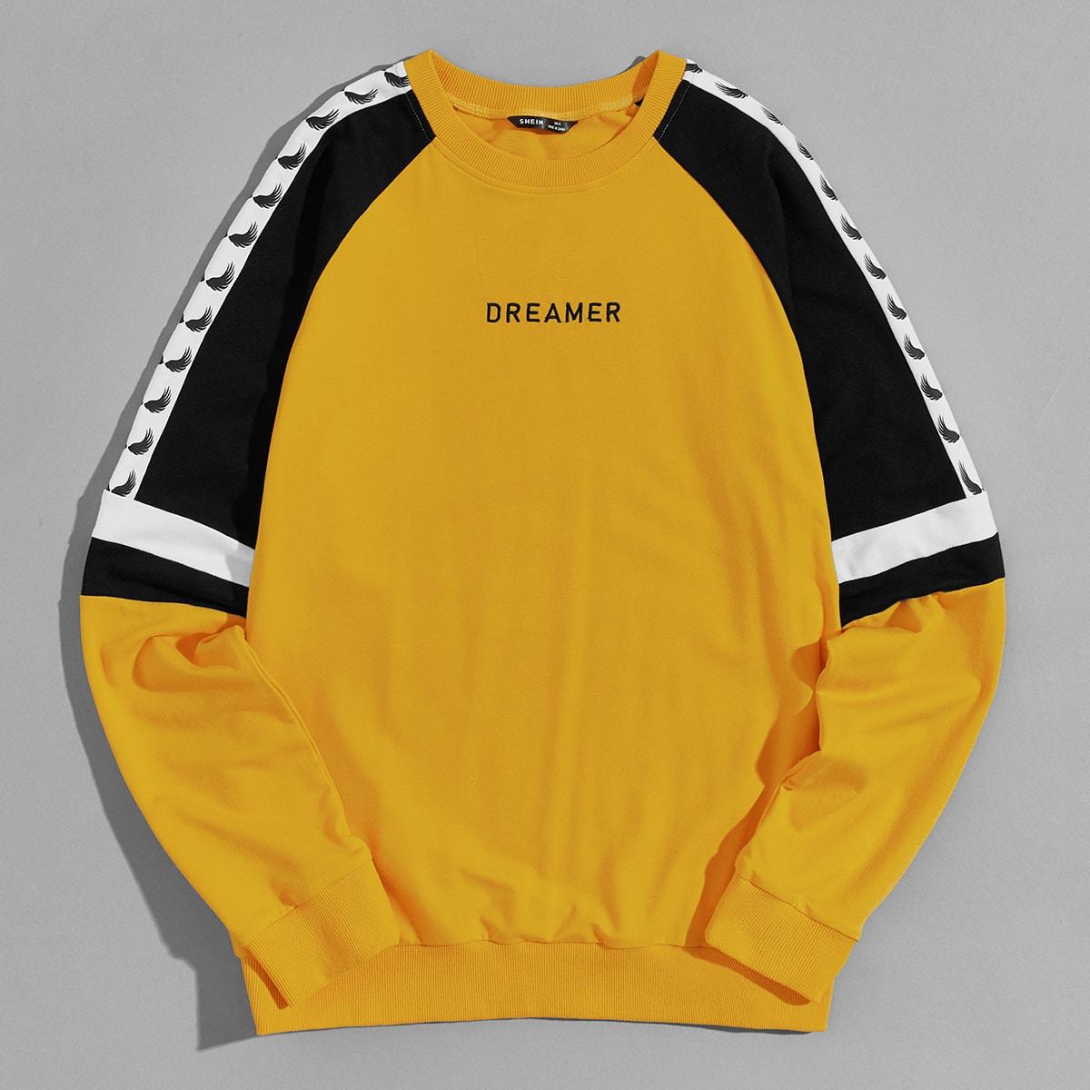Мужской пуловер с рукавом реглан и текстовой вышивкой от SHEIN