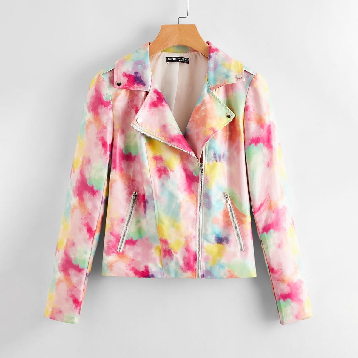 Многоцветный на молнии тай дай Повседневный Куртки