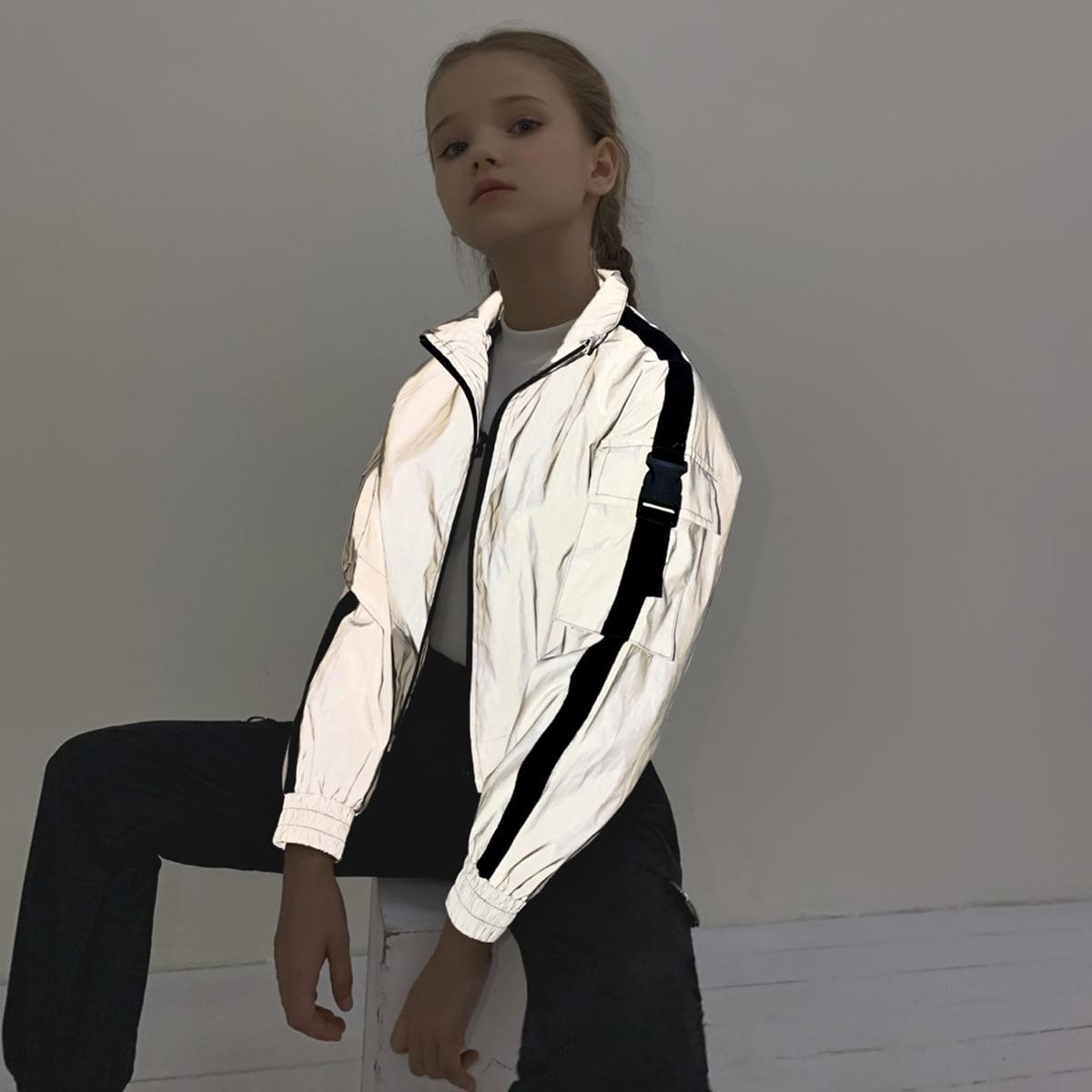 Куртка с карманом и пряжкой для девочек от SHEIN
