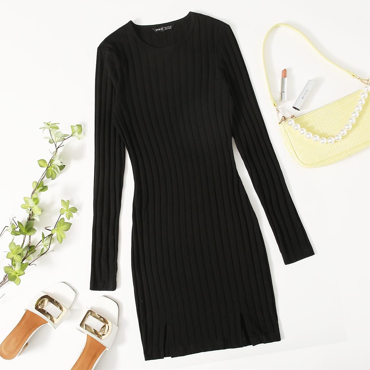 Облегающее платье с разрезом без пояса