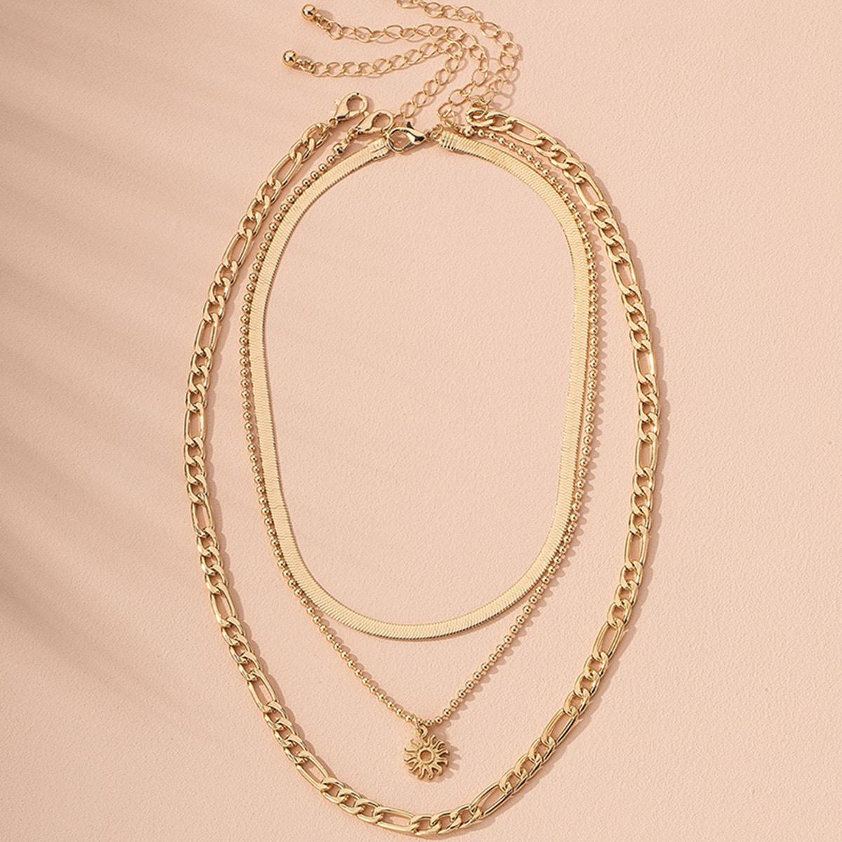 3шт мужское ожерелье с декором солнца от SHEIN