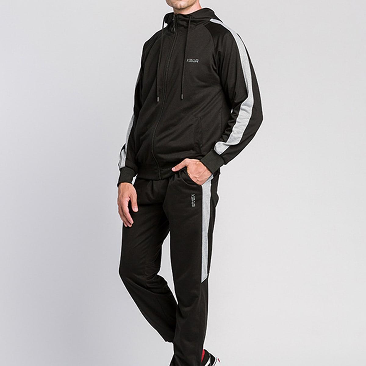 Мужские контрастные спортивные брюки и толстовка