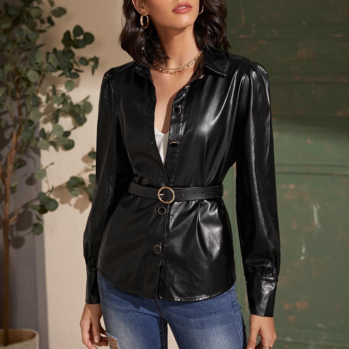 Однотонная куртка из искусственной кожи с пышным рукавом