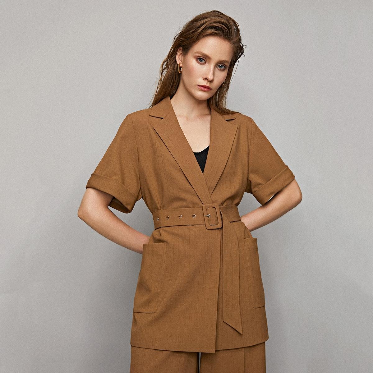 Пиджак с карманом и поясом от SHEIN