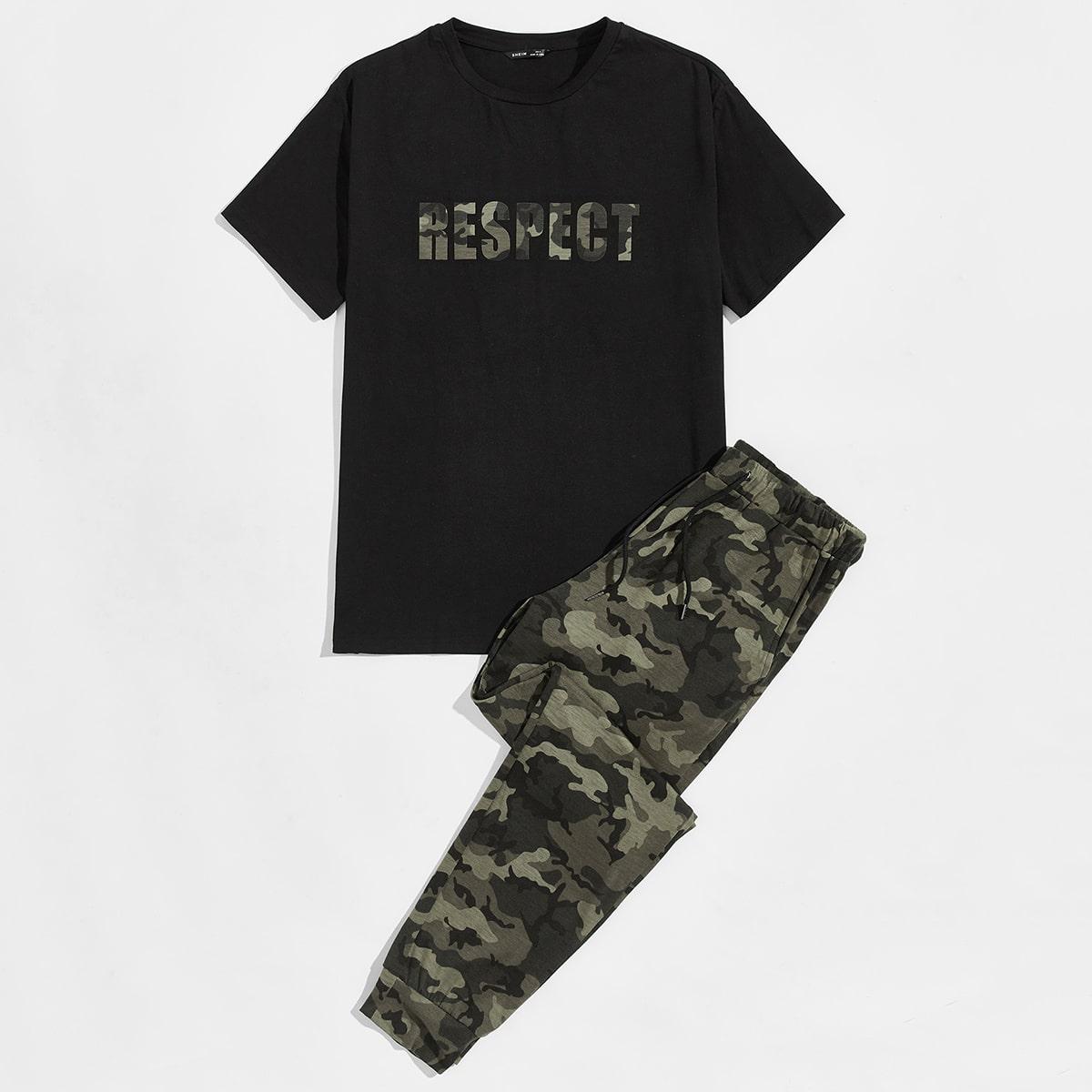 Мужские топ с текстовым принтом и брюки с камуфляжным принтом от SHEIN