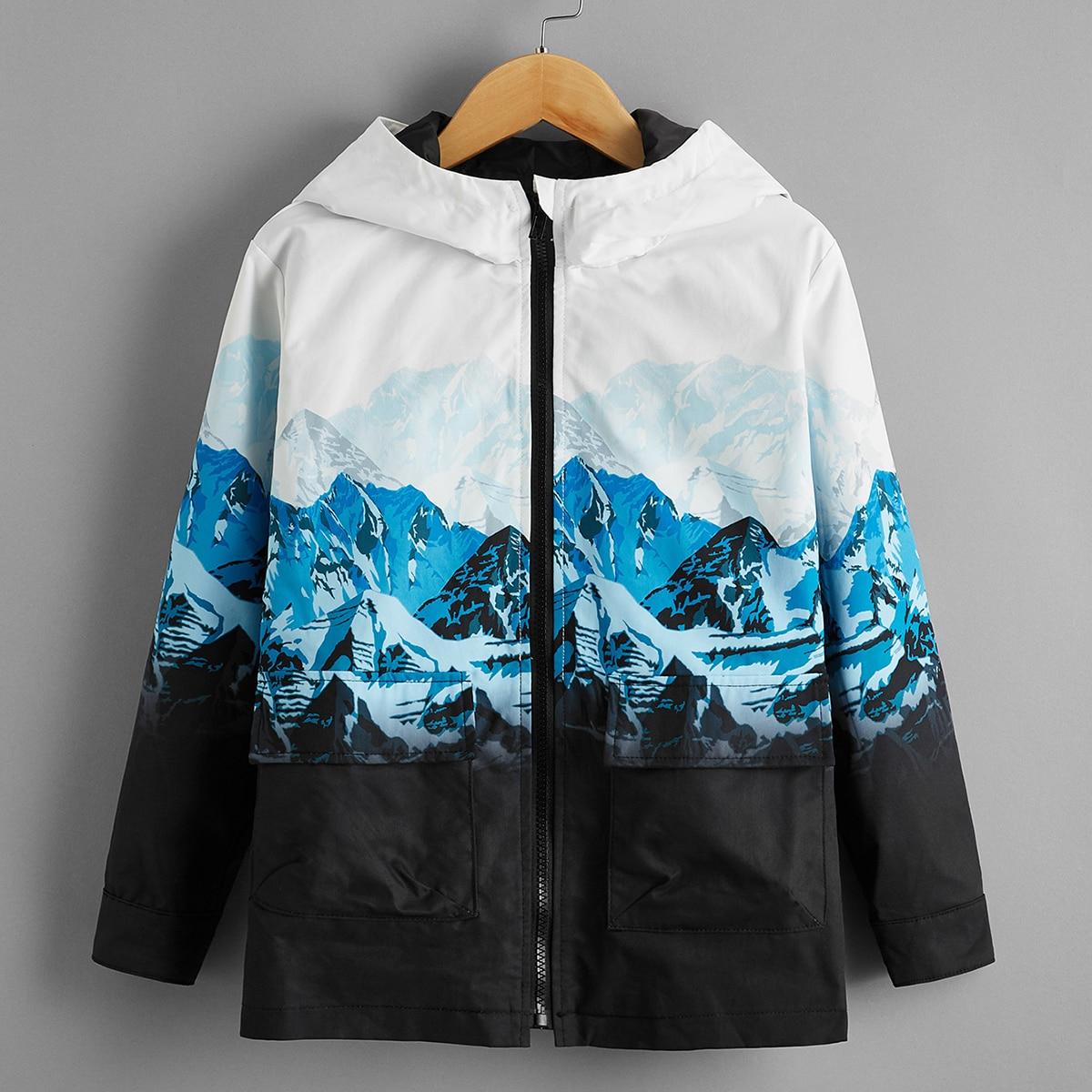 Куртка с принтом ландшафта, карманом и молнией для мальчиков от SHEIN