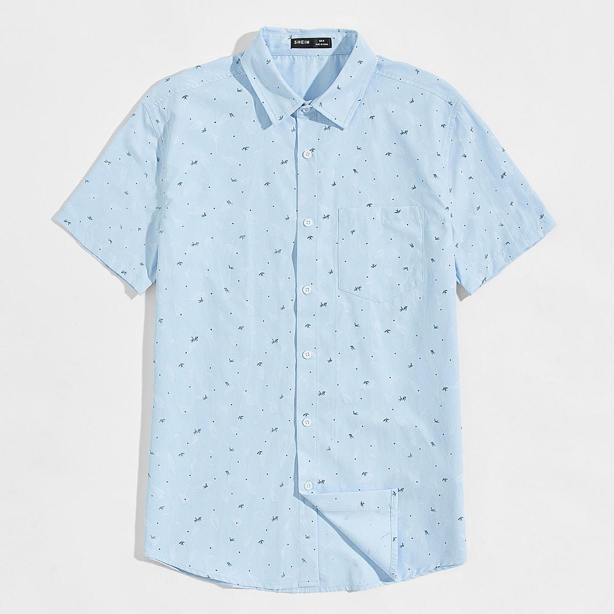 SHEIN / Camisa con parche con bolsillo