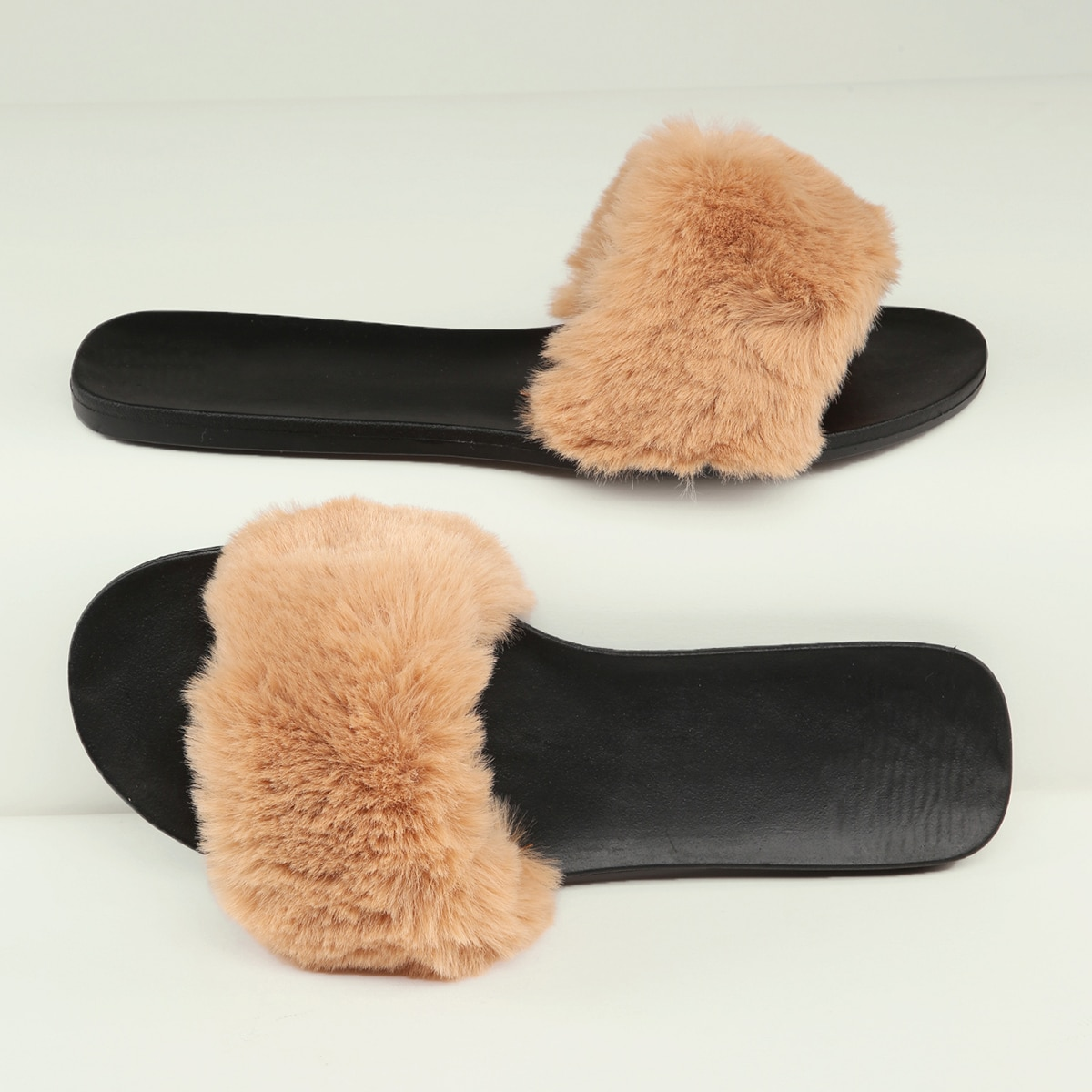 SHEIN / Plush Faux Fur Open-Toe Sandals