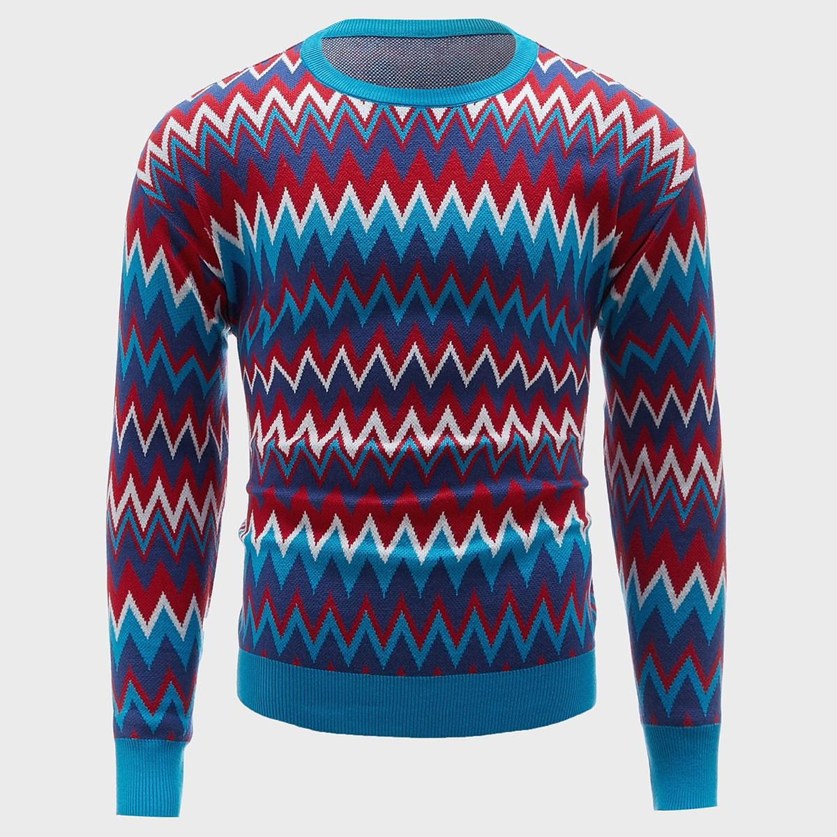 Мужской разноцветный свитер с шевронным принтом