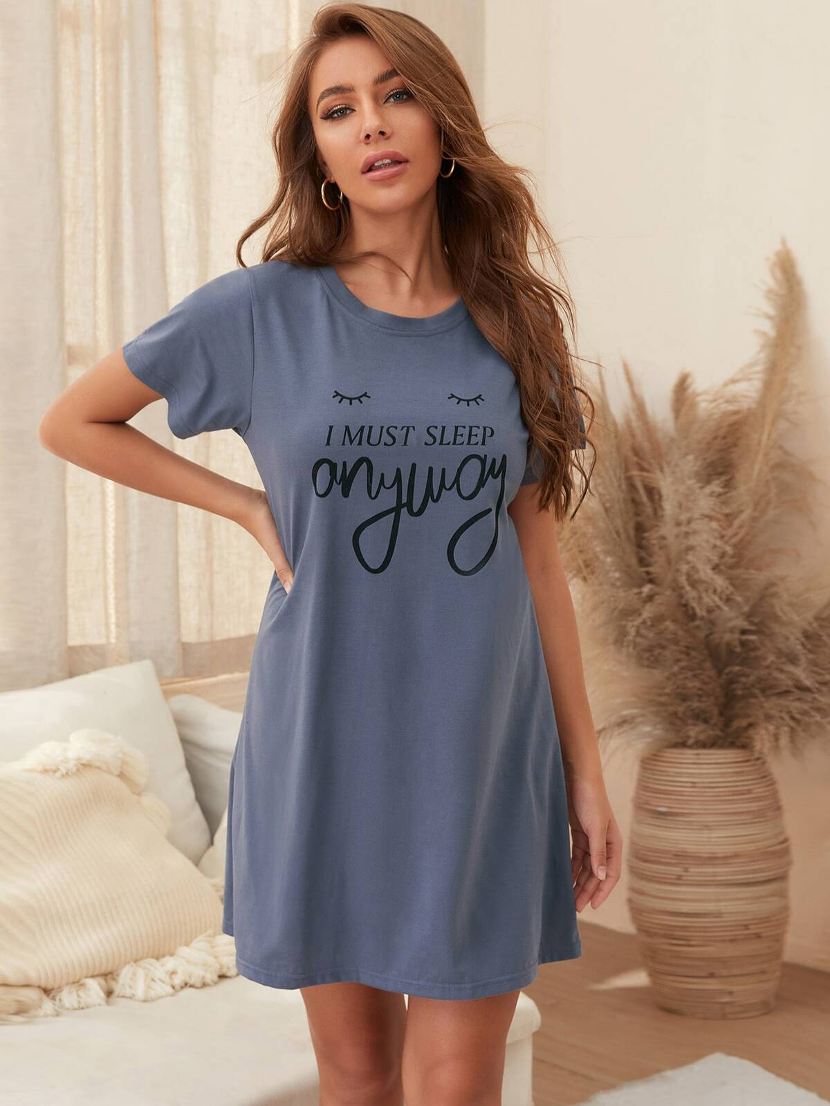 Slogan Graphic Lounge Dress