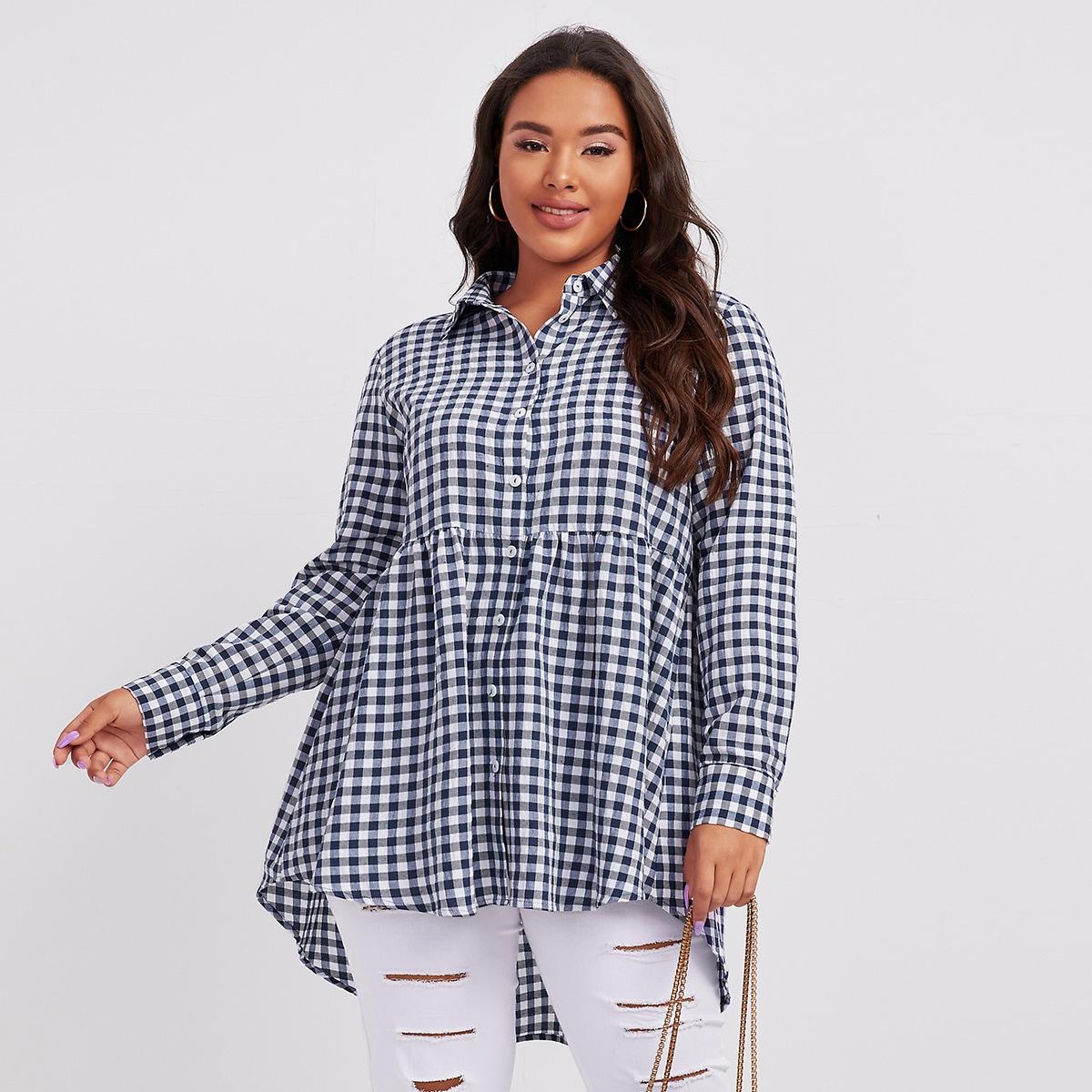SHEIN / Bluse mit Knöpfen vorn, abfallendem Saum und Karo Muster