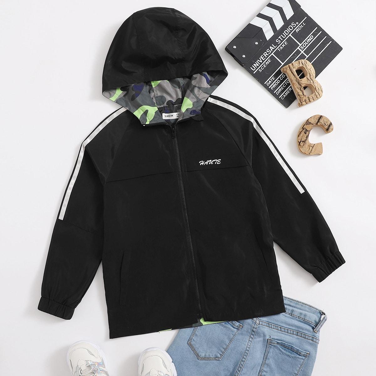 Куртка с текстовым принтом для мальчиков от SHEIN