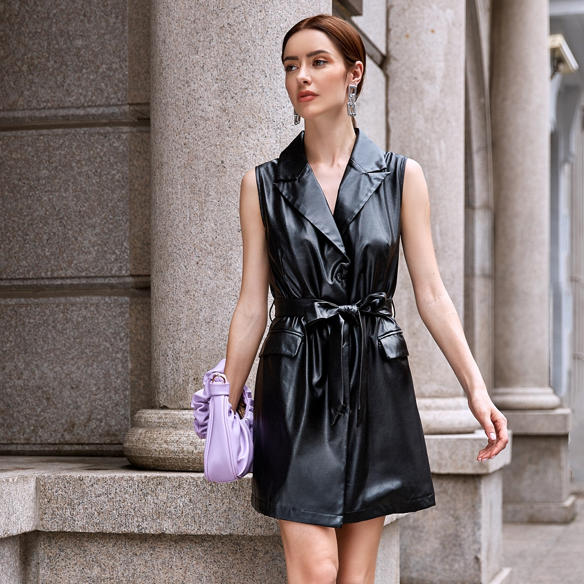 Button Front Belted PU Leather Dress