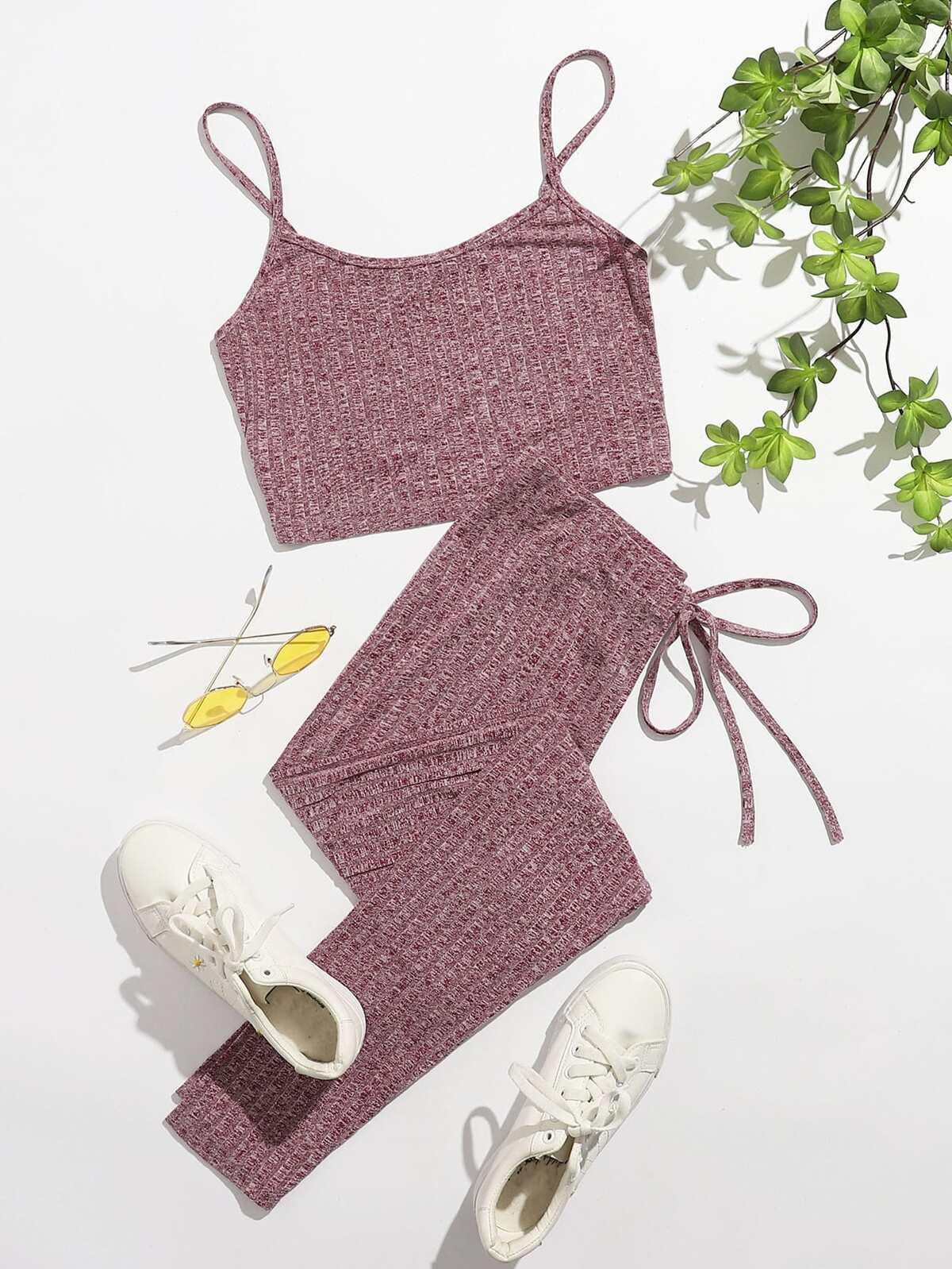 Rib-knit Crop Cami Top & Knot Waist Leggings Set