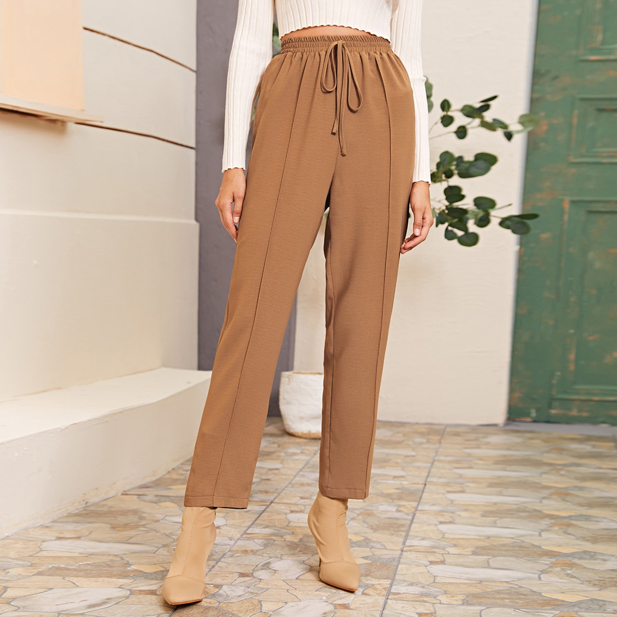 Knot Front Elastic Waist Tapered Pants
