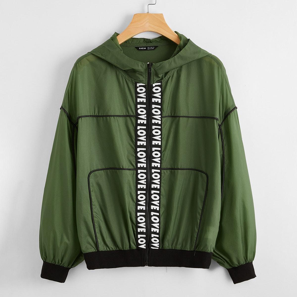 Куртка с текстовой лентой