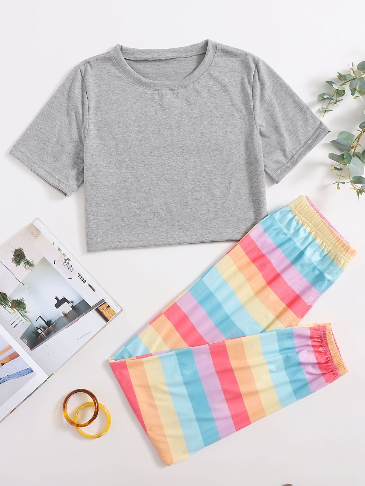 Rainbow Stripe Pants Lounge Set