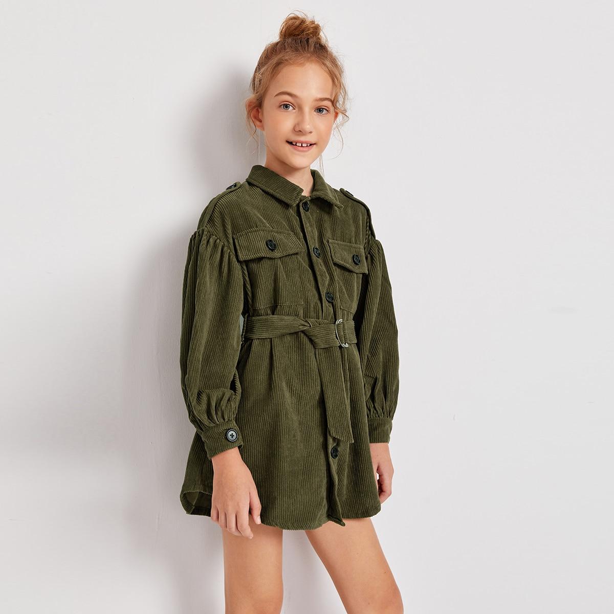 Вельветовое пальто с поясом и карманом для девочек от SHEIN