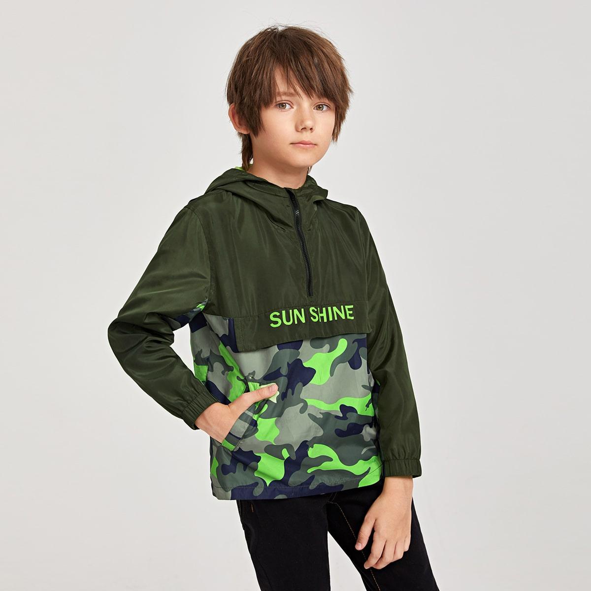 на молнии Текст Спортивный Пальто для мальчиков от SHEIN