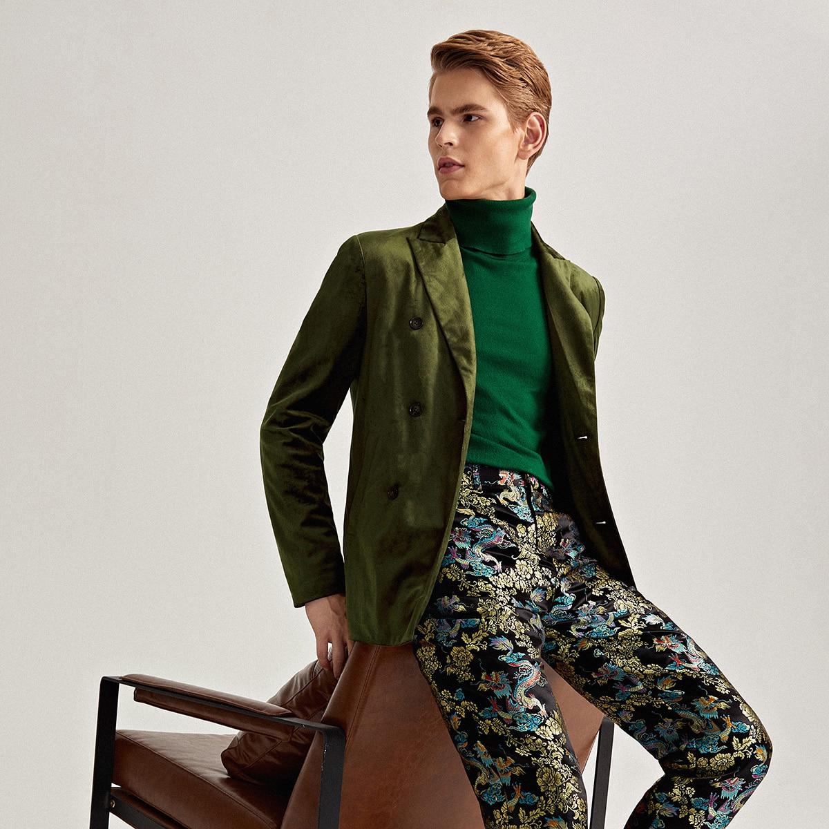 Мужской двубортный бархатный пиджак с лацканом