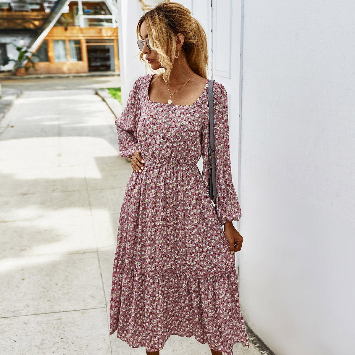 SHEIN / Ditsy Floral Square Neck Ruffle Hem A-line Dress