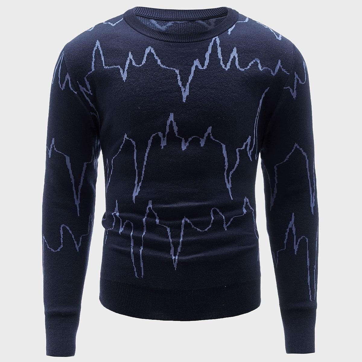 Мужской свитер с принтом ЭКГ